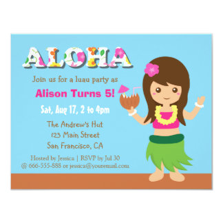 Colourful Hawaii Hula Girl Luau Birthday Party 4.25x5.5 Paper Invitation Card
