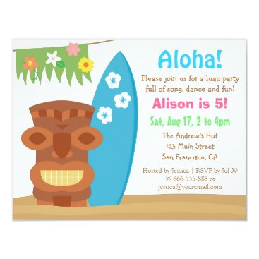 RustyDoodle Colourful Hawaii Tiki Luau Beach Birthday Party Card