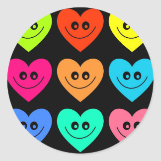 Colourful Heart Classic Round Sticker