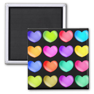 Colourful Hearts 2 Inch Square Magnet