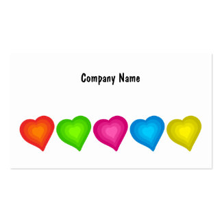Colourful Hearts, Company Name Double-Sided Standard Business Cards (Pack Of 100)