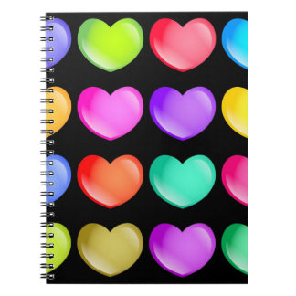 Colourful Hearts Spiral Note Books
