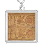 Colourful hieroglyphics, Karnak Temple, Honey Bee Square Pendant Necklace