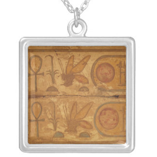 Colourful hieroglyphics, Karnak Temple, Honey Bee Square Pendant Necklace