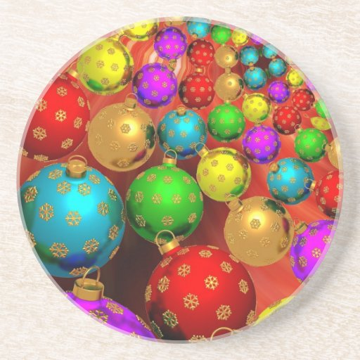 Colourful Holiday Christmas Tree Ornaments Gold Drink Coasters