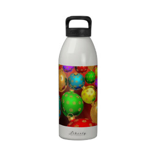 Colourful Holiday Christmas Tree Ornaments Gold Drinking Bottles
