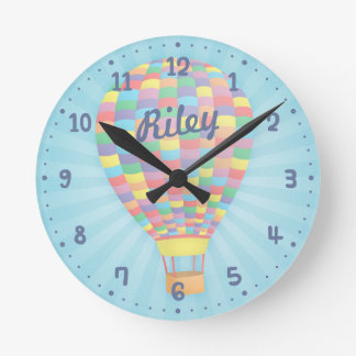 Colourful Hot Air Balloon Nursery Room Decor Clock