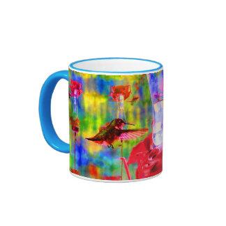Colourful Hovering Hummingbird at Feeder Ringer Mug