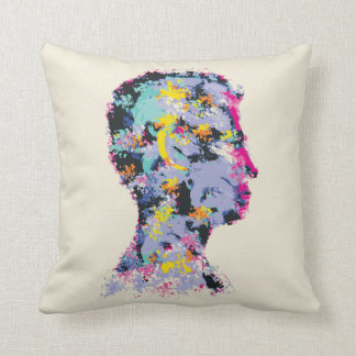 Colourful illustration of human head silhouette throw pillow