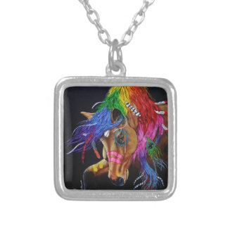 Colourful Indian horse Silver Plated Necklace