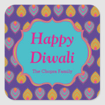 Colourful Indian Pattern Diwali Party Favour Square Sticker