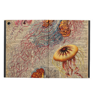 Colourful Jellyfish Sea Life Vintage Old Book Page iPad Air Covers