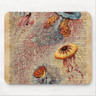 Colourful Jellyfish Sea Life Vintage Old Book Page Mouse Pad