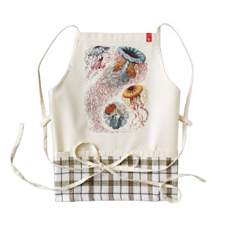Colourful Jellyfish Sea Life Vintage Old Book Page Zazzle HEART Apron