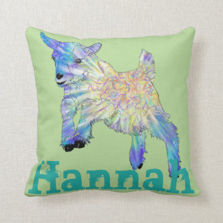 Colourful jumping baby Goat on Personalised Name Throw Pillow