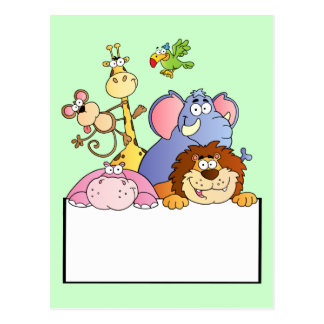 colourful JUNGLE ANIMALS sign board cartoon funny Postcard