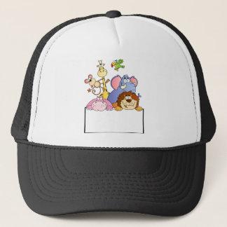 colourful JUNGLE ANIMALS sign board cartoon funny Trucker Hat