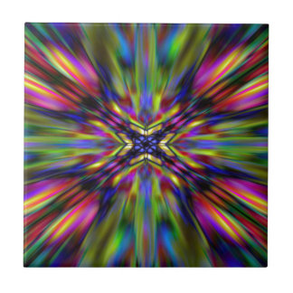 Colourful kaleidoscope starburst ceramic tile