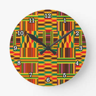 Colourful Kente Round Clock