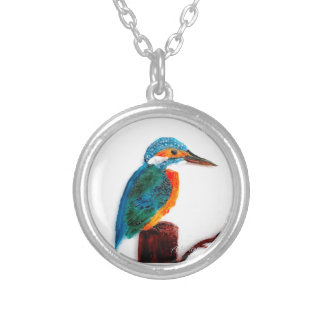 Colourful Kingfisher Art Silver Plated Necklace