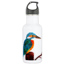 Colourful Kingfisher Bird Art Stainless Steel Water Bottle