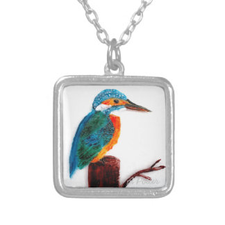 Colourful Kingfisher Bird Artwork Silver Plated Necklace