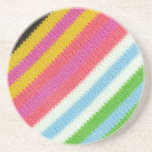 Colourful knitted background drink coasters