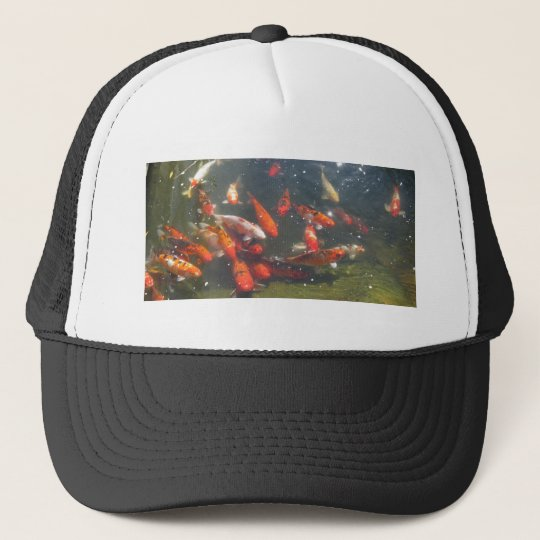Colourful Koi Fish In a Pond Trucker Hat