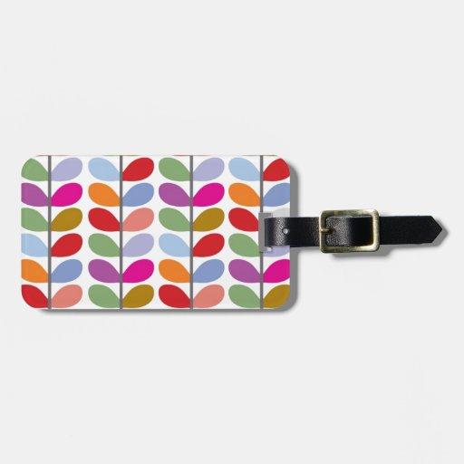 Colourful Leaf Pattern Travel Bag Tags