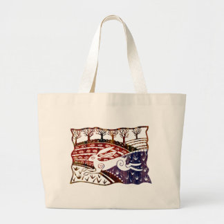 Colourful Leaping Hare Large Tote Bag