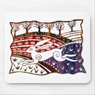 Colourful Leaping Hare Mouse Pad