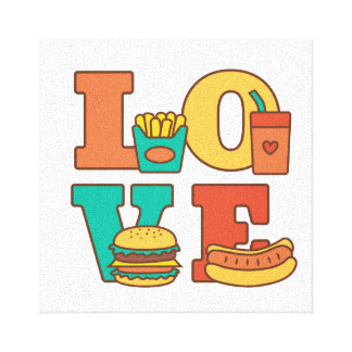 Colourful Letters Love Junk Food Burger Hot Dog Canvas Print