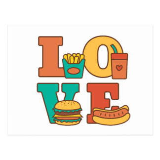 Colourful Letters Love Junk Food Burger Hot Dog Postcard