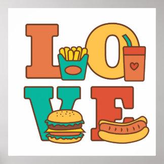 Colourful Letters Love Junk Food Burger Hot Dog Poster