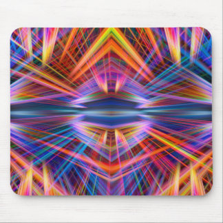 Colourful light beams pattern mouse pad