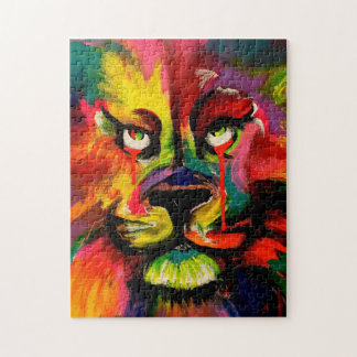 Colourful lion face painted in tattoo ink jigsaw puzzle