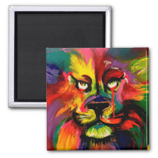 Colourful lion painted with tattoo ink 2 inch square magnet