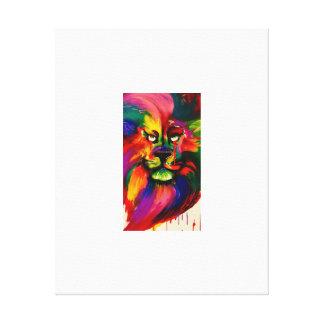 Colourful Lion Painting Canvas Print