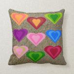 Colourful Love Hearts  Pillow, cushion