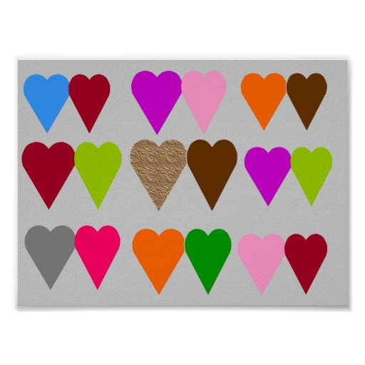 Colourful Love Hearts Posters