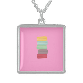 colourful macarons sterling silver necklace