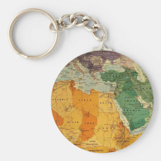 Colourful map cool basic round button keychain