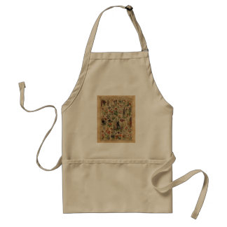 Colourful Meadow Flowers Herbs Dictionary Art Adult Apron