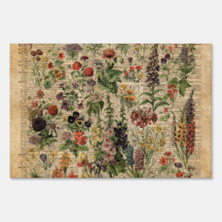 Colourful Meadow Flowers Herbs Dictionary Art Lawn Sign