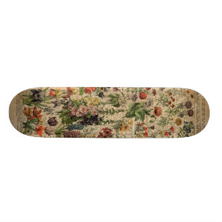 Colourful Meadow Flowers Herbs Dictionary Art Skateboard Deck