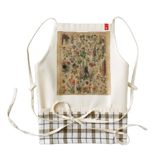 Colourful Meadow Flowers Herbs Dictionary Art Zazzle HEART Apron