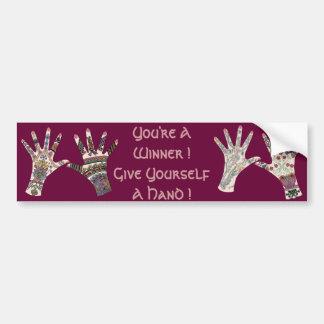 Colourful Mehndi hand Bumper Sticker
