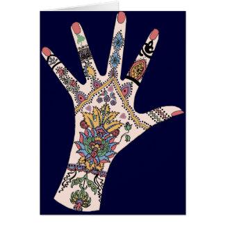 Colourful Mehndi hand Card