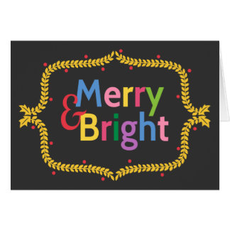 Colourful Merry and Bright Christmas Wreath Card
