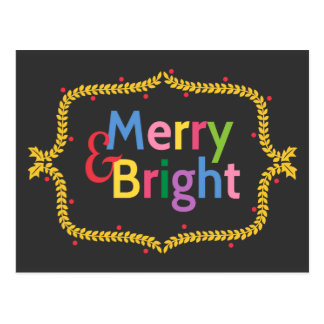 Colourful Merry and Bright Christmas Wreath Postcard